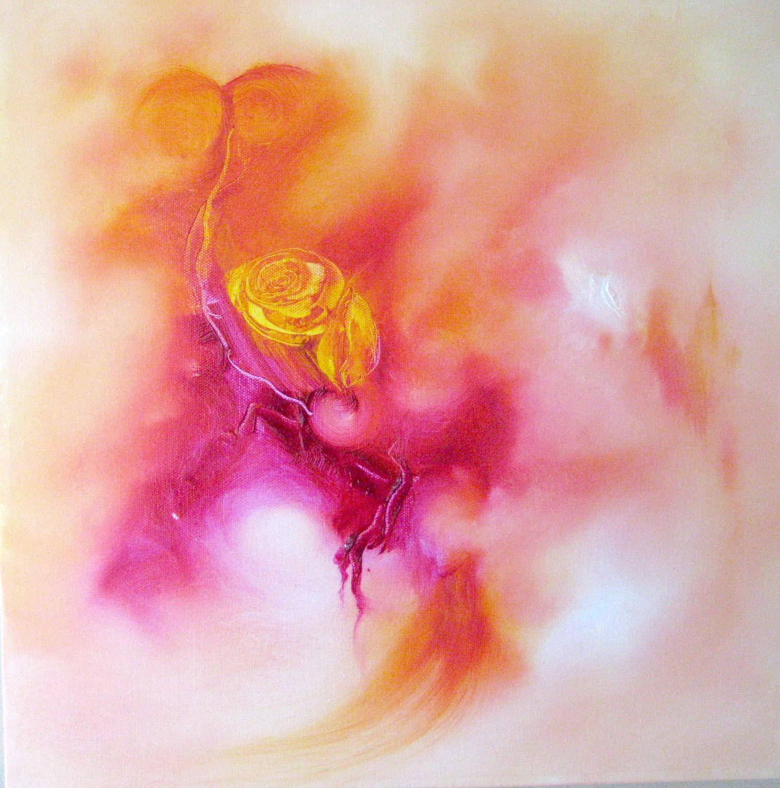 Pink roses, oilpaintning with golden tones, abtrakt motive - aiva- jacqueline.ostrowski.spirituelart.dk