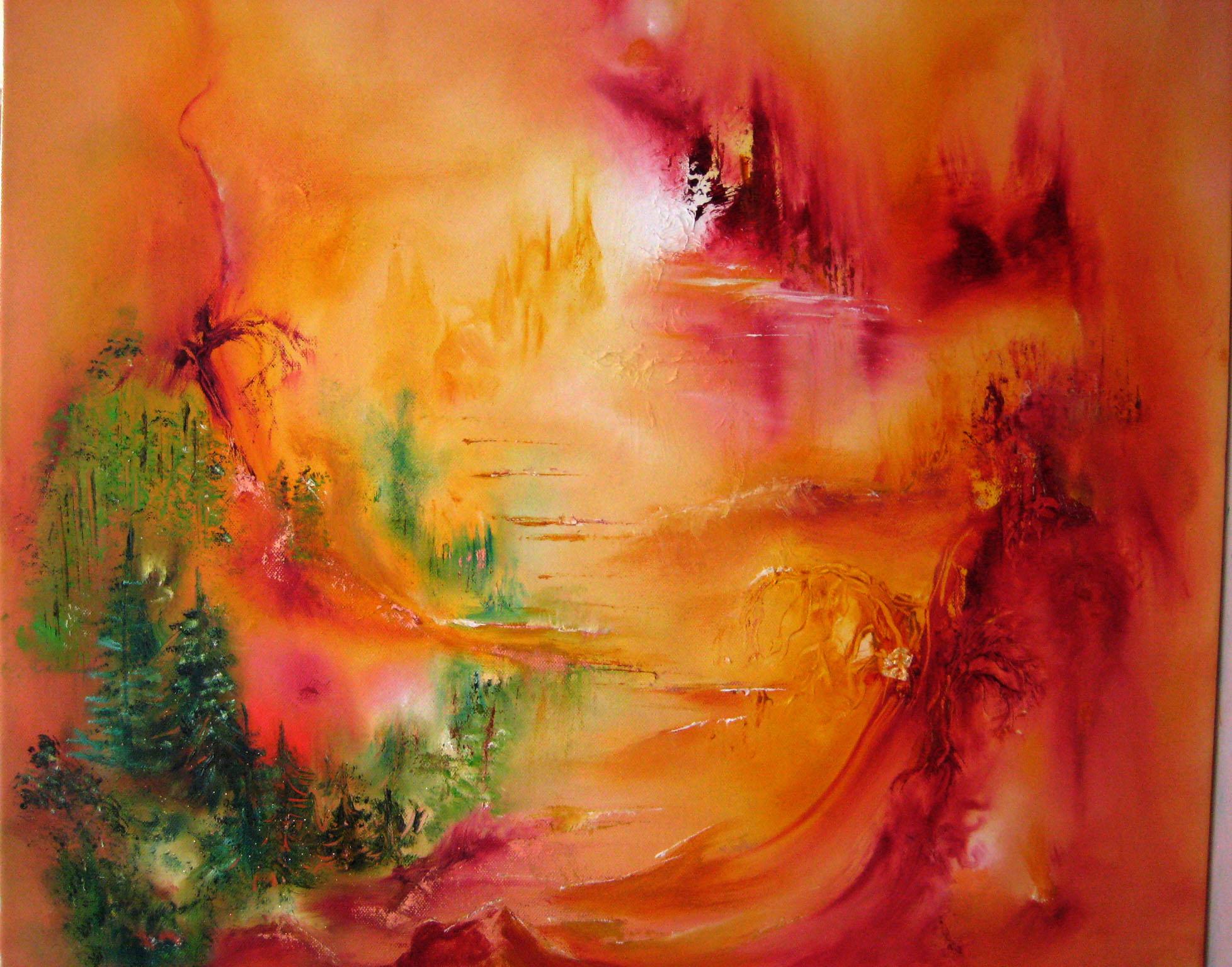 Orange city-oilpainting by Jacqueline Ostrowski-deep colouers- dimensioner-art-spiritual art-painter-artist-Jacqueline Ostrowski-spirituelart.dk
